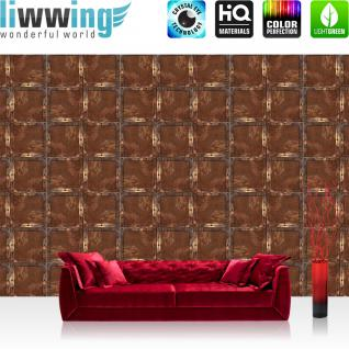 liwwing Fototapete 368x254 cm PREMIUM Wand Foto Tapete Wand Bild Papiertapete - Texturen Tapete Stahl Rechtecke Kacheln Vintage Rost Texturen braun - no. 3088