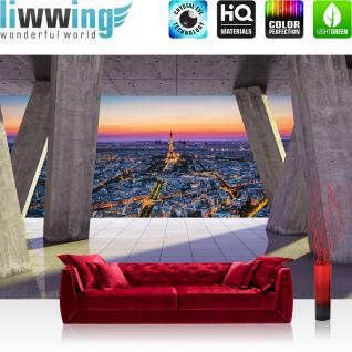 liwwing Fototapete 368x254 cm PREMIUM Wand Foto Tapete Wand Bild Papiertapete - Architektur Tapete Terrasse Balkon Skyline Paris Eiffelturm Architektur grau - no. 2929
