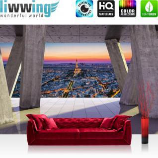 liwwing Vlies Fototapete 152.5x104cm PREMIUM PLUS Wand Foto Tapete Wand Bild Vliestapete - Architektur Tapete Terrasse Balkon Skyline Paris Eiffelturm Architektur grau - no. 2929