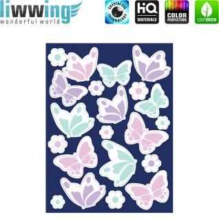 Wandsticker - No. 4822 Wandtattoo Sticker Leuchtsticker Fluoreszierend Neon Schmetterlinge