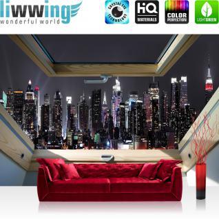 liwwing Vlies Fototapete 416x254cm PREMIUM PLUS Wand Foto Tapete Wand Bild Vliestapete - Skylines Tapete Manhattan Wolkenkratzer Nacht Fenster anthrazit - no. 3326