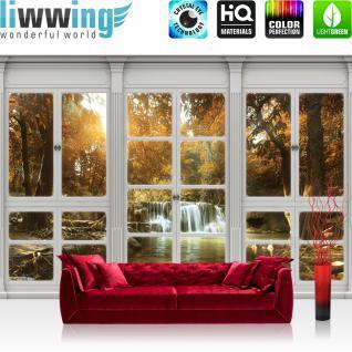 liwwing Fototapete 254x184cm PREMIUM Wand Foto Tapete Wand Bild Papiertapete - Wald Tapete Laubwald Sonne Herbst Fenster Bach Wasserfall natural - no. 3410