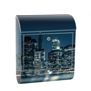 Edelstahl Wandbriefkasten XXL mit Motiv & Zeitungsrolle | New York City USA Amerika Empire State Building | no. 0022