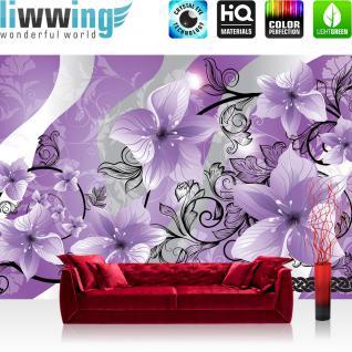 liwwing Vlies Fototapete 416x254cm PREMIUM PLUS Wand Foto Tapete Wand Bild Vliestapete - Blumen Tapete Blume Blüten Blätter Schlingen Orchideen rosa - no. 1695