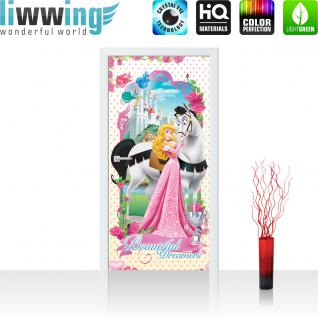 liwwing Vlies Türtapete 91x211 cm PREMIUM PLUS Tür Fototapete Türposter Türpanel Foto Tapete Bild - DISNEY Princess Kindertapete Cartoon Prinzessin Schloss - no. 893