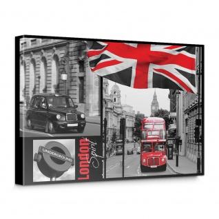 Leinwandbild London Bus Flagge Schwarz-Weiß Rot Schrift   no. 286