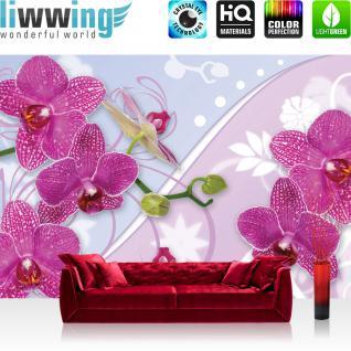 liwwing Fototapete 368x254 cm PREMIUM Wand Foto Tapete Wand Bild Papiertapete - Orchideen Tapete Orchidee Blume Blüte Ranke Streifen pink - no. 2958