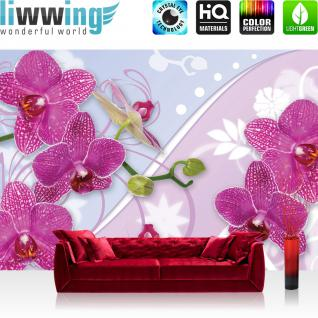 liwwing Vlies Fototapete 312x219cm PREMIUM PLUS Wand Foto Tapete Wand Bild Vliestapete - Orchideen Tapete Orchidee Blume Blüte Ranke Streifen pink - no. 2958