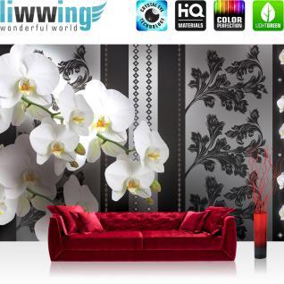 liwwing Fototapete 368x254 cm PREMIUM Wand Foto Tapete Wand Bild Papiertapete - Blumen Tapete Orchideen Blume Blüten schwarz weiß - no. 1586