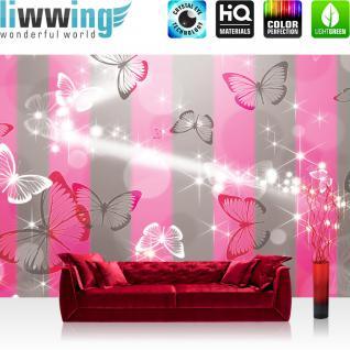 liwwing Vlies Fototapete 312x219cm PREMIUM PLUS Wand Foto Tapete Wand Bild Vliestapete - Kunst Tapete Streifen Sterne Schmetterling Muster grau - no. 2822