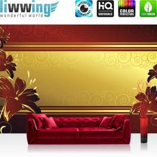 liwwing Fototapete 368x254 cm PREMIUM Wand Foto Tapete Wand Bild Papiertapete - Ornamente Tapete Blume Abstrakt gold - no. 1229