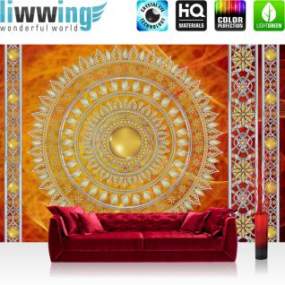 liwwing Vlies Fototapete 208x146cm PREMIUM PLUS Wand Foto Tapete Wand Bild Vliestapete - Ornamente Tapete Mandala Sterne Perlen rot - no. 3232