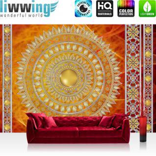 liwwing Vlies Fototapete 416x254cm PREMIUM PLUS Wand Foto Tapete Wand Bild Vliestapete - Ornamente Tapete Mandala Sterne Perlen rot - no. 3232