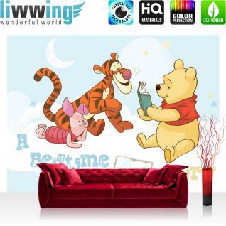 liwwing Fototapete 254x168 cm PREMIUM Wand Foto Tapete Wand Bild Papiertapete - Kindertapete Tapete Disney Winnie Puuh Ferkel Tiger Mond Sterne bunt - no. 3019