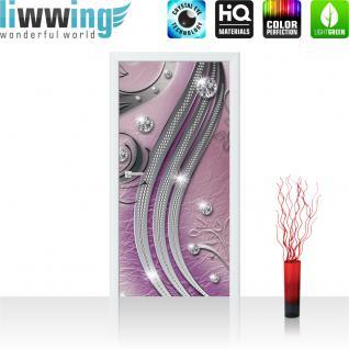 liwwing Türtapete selbstklebend 91x211 cm PREMIUM PLUS Tür Fototapete Türposter Türpanel Foto Tapete Bild - Abstrakt Kugeln Muster Streifen - no. 558