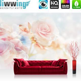 liwwing Vlies Fototapete 416x254cm PREMIUM PLUS Wand Foto Tapete Wand Bild Vliestapete - Blumen Tapete Blüten Blätter Rose weiß - no. 2132
