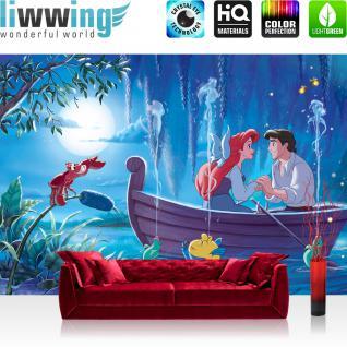 liwwing Fototapete 368x254 cm PREMIUM Wand Foto Tapete Wand Bild Papiertapete - Disney Tapete Arielle Kindertapete Cartoon Meerjungfrau Eryk Fabius Sebastian blau - no. 2480