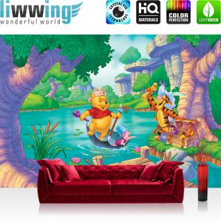 liwwing Vlies Fototapete 208x146cm PREMIUM PLUS Wand Foto Tapete Wand Bild Vliestapete - Kindertapete Tapete Disney Winnie Puuh Ferkel Tiger Schatz Wasser bunt - no. 3024