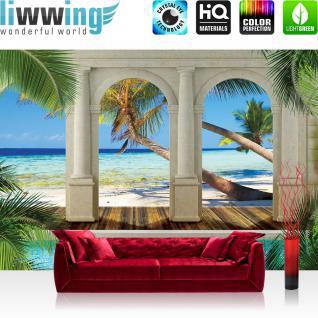liwwing Fototapete 368x254 cm PREMIUM Wand Foto Tapete Wand Bild Papiertapete - Meer Tapete Architektur Paradies Strand Bogen Palmen blau - no. 1209