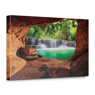 Leinwandbild Schlucht Wald Baum Natur Grün Blick Wasserfall Ausblick | no. 4921