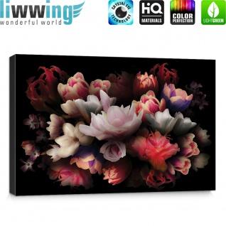 Leinwandbild Blume Bunte Rose Dunkelheit Bukett | no. 4324 - Vorschau 5