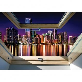 Fototapete Skylines Tapete Manhattan, Hudson River, Wolkenkratzer, Nacht, Fenster blau | no. 3327