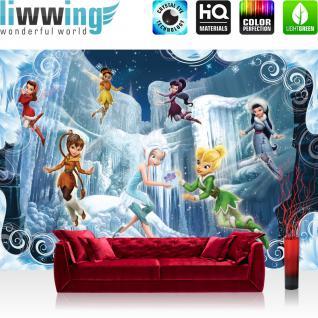 liwwing Fototapete 368x254 cm PREMIUM Wand Foto Tapete Wand Bild Papiertapete - Disney Tapete Disney - Tinkerbell Kindertapete Cartoon Feen Schnee Eiszapfen blau - no. 540