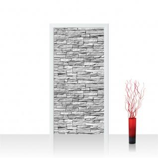 Türtapete - Asian Stone Wall - grau Steinwand Steinoptik Verblendsteine Wandverblender | no. 139