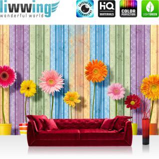 liwwing Vlies Fototapete 416x254cm PREMIUM PLUS Wand Foto Tapete Wand Bild Vliestapete - Blumen Tapete Blüten Sonnenblumen Streifen bunt - no. 2561