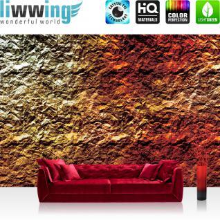 liwwing Vlies Fototapete 416x254cm PREMIUM PLUS Wand Foto Tapete Wand Bild Vliestapete - Steinwand Tapete Stein Steinoptik Steine Gold Felsen gold - no. 1612