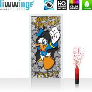 liwwing Türtapete selbstklebend 91x211 cm PREMIUM PLUS Tür Fototapete Türposter Türpanel Foto Tapete Bild - DISNEY Donald Duck Kindertapete Cartoon Comic Ente - no. 1063