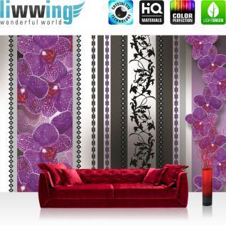 liwwing Vlies Fototapete 312x219cm PREMIUM PLUS Wand Foto Tapete Wand Bild Vliestapete - Ornamente Tapete Orchidee Blume Blüte Herzen Streifen lila - no. 2089
