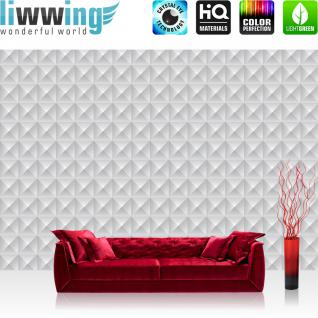 liwwing Vlies Fototapete 416x254cm PREMIUM PLUS Wand Foto Tapete Wand Bild Vliestapete - Texturen Tapete Dreiecke Palmen Punkte Retro bunt - no. 3453