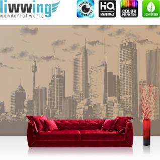 liwwing Vlies Fototapete 416x254cm PREMIUM PLUS Wand Foto Tapete Wand Bild Vliestapete - Skylines Tapete Skyline Stadt Himmel Kunst beige - no. 3059
