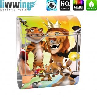 Edelstahl Wandbriefkasten XXL mit Motiv & Zeitungsrolle   Kinder Zoo Tiere Safari Comic Party Dschungel   no. 0088 - Vorschau 2