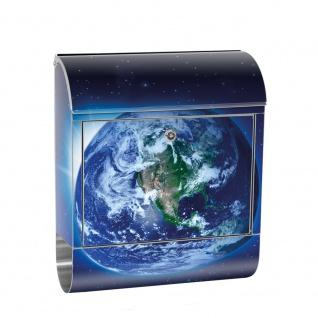 Edelstahl Wandbriefkasten XXL mit Motiv & Zeitungsrolle | Erde Weltraum Planet Blau | no. 0231