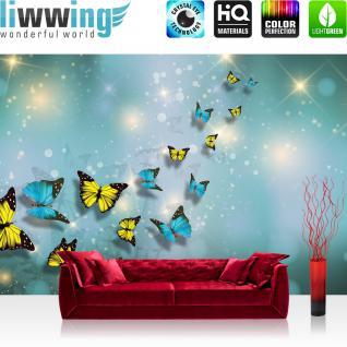 liwwing Fototapete 254x168 cm PREMIUM Wand Foto Tapete Wand Bild Papiertapete - Tiere Tapete Schmetterlinge Kunst Punkte Licht türkis - no. 2560