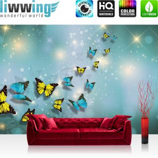 liwwing Vlies Fototapete 312x219cm PREMIUM PLUS Wand Foto Tapete Wand Bild Vliestapete - Tiere Tapete Schmetterlinge Kunst Punkte Licht türkis - no. 2560