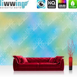 liwwing Vlies Fototapete 350x245 cm PREMIUM PLUS Wand Foto Tapete Wand Bild Vliestapete - Ornamente Tapete Muster blau - no. 383