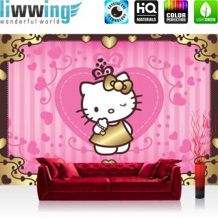 liwwing Vlies Fototapete 312x219cm PREMIUM PLUS Wand Foto Tapete Wand Bild Vliestapete - Mädchen Tapete Sanrio Hello Kitty Kindertapete Cartoon Katze Herzen Ornamente pink - no. 998