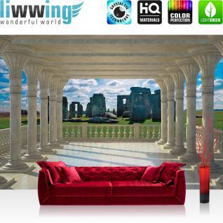 liwwing Vlies Fototapete 312x219cm PREMIUM PLUS Wand Foto Tapete Wand Bild Vliestapete - 3D Tapete Kugeln Holz Formen grau - no. 2665