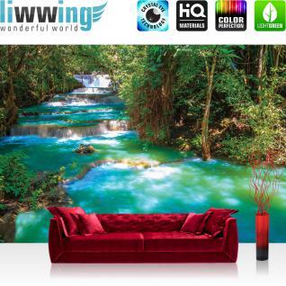 liwwing Fototapete 368x254 cm PREMIUM Wand Foto Tapete Wand Bild Papiertapete - Wasser Tapete Fluss Wasserfall Bäume Wald türkis - no. 2502