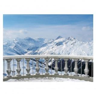Fototapete Landschaft Tapete Alpen Schnee Balkon Winter blau | no. 2853