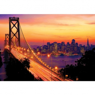 Fototapete USA Tapete Brücke Himmel Lightning San Francisco Skyline Nacht Golden Bridge orange | no. 1009