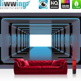 liwwing Vlies Fototapete 416x254cm PREMIUM PLUS Wand Foto Tapete Wand Bild Vliestapete - 3D Tapete Metalloptik Metall Aufzug Kunst Illustration grau - no. 1258