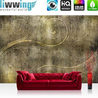liwwing Vlies Fototapete 208x146cm PREMIUM PLUS Wand Foto Tapete Wand Bild Vliestapete - Illustrationen Tapete Ornamente verspielt Kunst Muster Textur gold - no. 1520