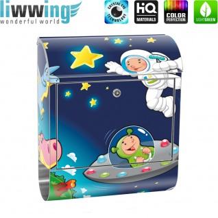 Edelstahl Wandbriefkasten XXL mit Motiv & Zeitungsrolle | Kinder Weltraum Star All Weltall Mond Sterne | no. 0089 - Vorschau 2
