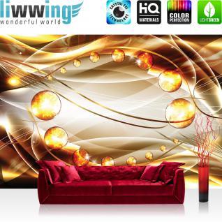 liwwing Vlies Fototapete 254x184cm PREMIUM PLUS Wand Foto Tapete Wand Bild Vliestapete - Ornamente Tapete Perlen Diamanten Wellen gold - no. 3268