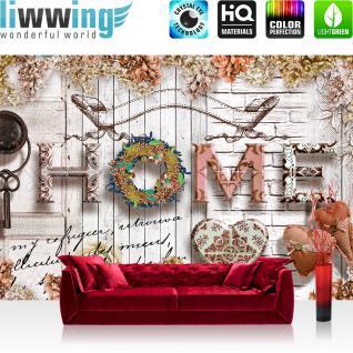 liwwing Vlies Fototapete 208x146cm PREMIUM PLUS Wand Foto Tapete Wand Bild Vliestapete - Kunst Tapete Steinwand Steinoptik Holz Herzen Blumen Blüten beige - no. 3031