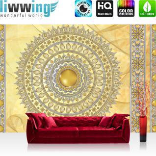 liwwing Vlies Fototapete 312x219cm PREMIUM PLUS Wand Foto Tapete Wand Bild Vliestapete - Ornamente Tapete Mandala Sterne Perlen gelb - no. 3230